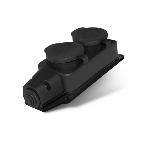 Колодка 2вх з/з каучук 16А 250В BAYSAL чорна